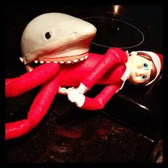 Instagram user lizbronwlee's elf had a run in with a creature from the deep.   Source: Instagram user lizbrownlee