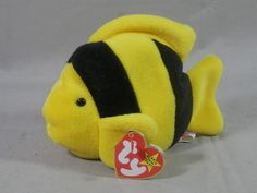 Vintage TY Beanie Babies Bubbles 1995 Style 4078 RETIRED 4th Gen Tag PVC Pellets Black Yellow Angel Fish by WesternKyRustic on Etsy