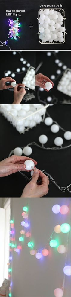 Ping pong balls over string lights. So much cheaper than the fancy lights. I need a ton more ping pong balls. What would be more fun than this craft is playing some serious ping pong. Save On Crafts, Fun Diy Crafts, Arts And Crafts, Crafts Cheap, Rustic Crafts, Recycled Crafts, Christmas Crafts, Christmas Decorations, Christmas Lights