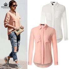 WISHCLUB 2015 Fashion Womens Loose Casual Linen Buttons Shirt Long Sleeve Turn-down Collar Tops Solid Trendy Blouse(China (Mainland))