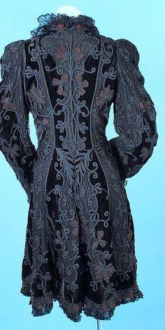 1890 Belle Epoque Velvet & Lace Fancy Evening Coat with Soutash
