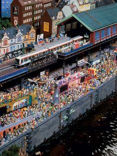 A HO Scale Miniature Wunderland Carnival Scene @ http://www.hobbylinc.com/model-trains #hotrainaccessories