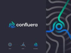 Confluera Logo designed by Ted Kulakevich for unfold . Connect with them on Dribbble; the global community for designers and creative professionals. Bad Logos, Tech Logos, Logo Publicidad, Logo Color Combinations, Logo Branding, Branding Design, Branding Ideas, Design Agency, Security Logo