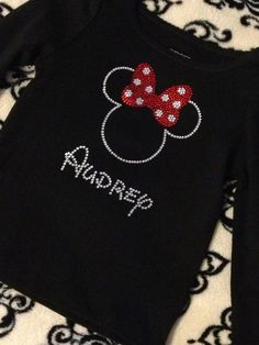 Minnie Mouse Look rhinestone bling shirt with rhinestone personalizing on Etsy, $25.00