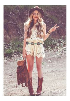 ☮ American Hippie Bohemian Style ~ Boho Summer Dress and Boots!