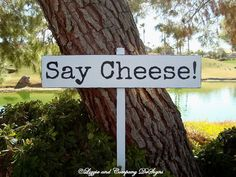 LaRGe WeDDiNG SiGn - SaY CHeeSe - TyPeWRiTeR FoNt - Photobooth Sign by lizzieandcompany, Etsy