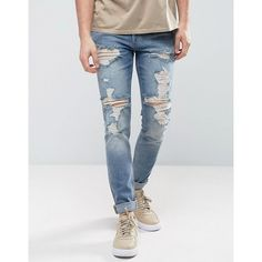 ASOS Skinny Jeans In Vintage Mid Wash Blue With Heavy Rips ($61) ❤ liked on Polyvore featuring men's fashion, men's clothing, men's jeans, blue, mens torn jeans, mens blue skinny jeans, mens super skinny jeans, mens super skinny ripped jeans and asos mens jeans