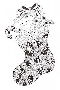Christmas stocking Zentangle made by Mariska den Boer 79 Tangle Doodle, Doodles Zentangles, Zen Doodle, Zentangle Patterns, Doodle Art, Doodle Coloring, Colouring Pages, Adult Coloring Pages, Coloring Books
