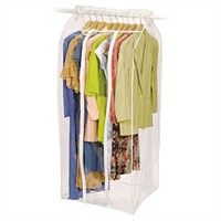 Protect your favorite dresses, coats and other garments from dust, moths and creases with this see-through zippered apparel bag. This clear vinyl bag allows you to easily view your clothes for quick selection, while also providing useful storage of your off-season apparel. The frame-less suit bag installs over any standard closet rod dowel in seconds with hook and loop closure. This dress bag is even adjustable to prevent wasted space. Colors/finish: Clear Materials: Vinyl Quantity: One (1)…