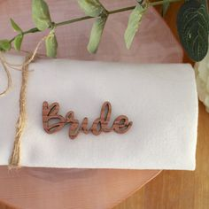 rose gold wooden place name wedding party place card by OhMyDearJulia on Etsy