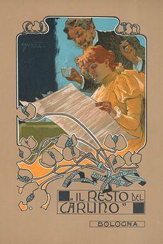 "By Adolfo Hohenstein (1854-1928, German), Il Resto del Carlino. From ""Ricordi Portfolio"" a serie of greatest Italian posters printed between 1895 & 1914."