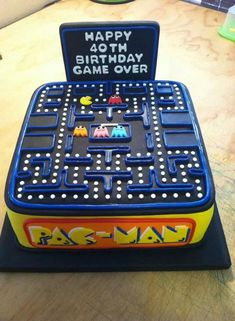 And another pac man Birthday cake 40th Birthday Cakes For Men, 40th Cake, Happy 40th Birthday, 40th Birthday Parties, Man Birthday, Birthday Cupcakes, Birthday Celebration, Bolo Pac Man, Pac Man Cake