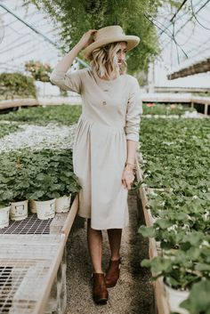 Taupe Pleated Midi Dress | ROOLEE