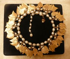Vintage Miriam Haskell Signed Gold Leaf Baroque Pearl Bib Necklace | eBay