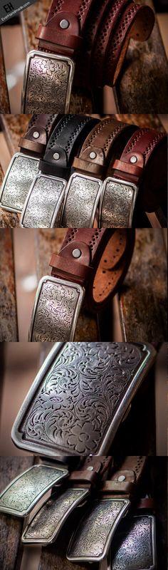 Handmade Custom personalized floral Leather men brown black coffee belt