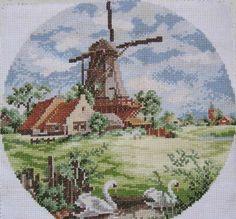 Vintage Dutch scene in cross stitch Cross Stitching, Cross Stitch Embroidery, Embroidery Patterns, Hand Embroidery, Funny Cross Stitch Patterns, Cross Stitch Charts, Cross Stitch Designs, Cross Stitch House, Cross Stitch Landscape