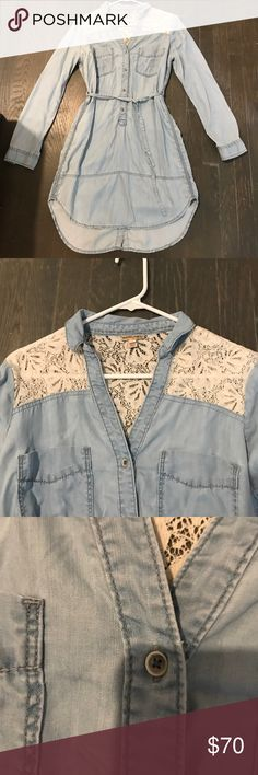 Anthropologie-Denim shirtdress with lace Button up collared shirtdress.  Light denim with cream lace around shoulders and back.  Gently used.  From Anthropologie holding horses Dresses