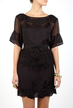 D  Lace Panelled Grosgrain Belt Dress