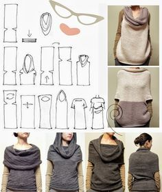 urbandon: RANDOM SEWING PATTERNS This looks like an interesting way to make a multi purpose garment. Looks like this could be a very easy, but long knitting project Diy Clothing, Sewing Clothes, Clothing Patterns, Sewing Hacks, Sewing Tutorials, Sewing Crafts, Diy Crafts, Knitting Projects, Knitting Patterns