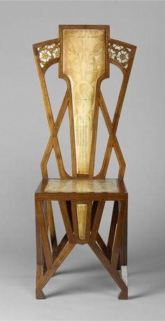 Art Nouveau A. De Vecchi chair - c. 1904 - Mahogany, exotic, wood, painting, oil painting, parchment, cabinet, inlaid fruitwood, olivier - Musée d'Orsay, Paris - @~ Mlle