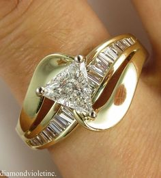 Reserved... 1.72ct Estate Vintage Trillion Solitaire Diamond Engagement Wedding Ring 14k Yellow Gold EGL USA