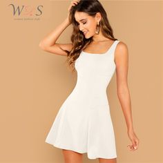 Casual A Line Plain Fit and Flare Flared Straps Sleeveless Natural White Short Length Solid Skater Tank Dress Fit And Flare, Fit Flare Dress, Plain Dress, The Dress, Dress Skirt, Natural Clothing, Romwe, Purple Fashion, Going Out Dresses