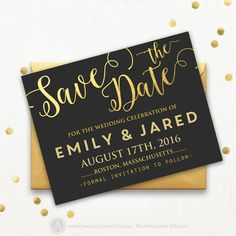 Printable Save the Date Cards Gold Faux Foiling & Blackboard Wedding Сalligraphy style Template DIY INSTANT DownLoad Editable for home print
