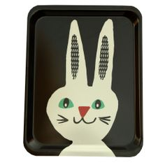 Black & White Rabbit Tray by Becky Baur (£30.00) Gorgeous, fun and quirky gifts for you and your home Hunkydory Home