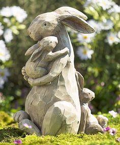 This Momma & Baby Bunnies Garden Statue is perfect! #zulilyfinds