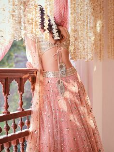 Mirror work lehenga for different wedding functions. Indian Bridal Fashion, Indian Wedding Outfits, Bridal Outfits, Indian Outfits, Bridal Dresses, Indian Lehenga, Lehenga Choli, Lehenga Blouse, Lehenga Designs