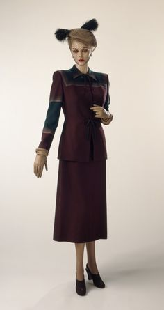 Woman's two piece suit (jacket and skirt) | Gilbert Adrian (United States, 1903-1959) | Material: wool twill | California, United States, circa 1949 | Los Angeles County Museum of Art, LACMA
