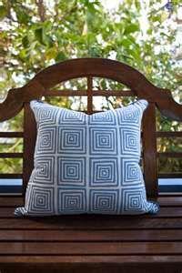 Absolutely Beautiful Things - Blue & White Geometric Cushion        shop.absolutelybeautifulthi...