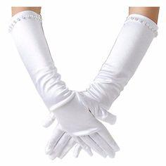 Flora Satin Flower Girl Bridesmaid//Children Long Fingered Wedding//Communion//Cinderella Prom Costume Glove,Elbow Length