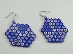 Handmade Bead woven unique earrings, made with miyuki delica beads in flat flower shape, made weaving bead after bead using peyote technique