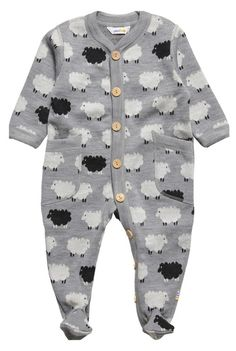 #Joha adorable grey sheep print thermal babygrow in lovely soft wool with wooden buttons and two pockets. '£ 59,00