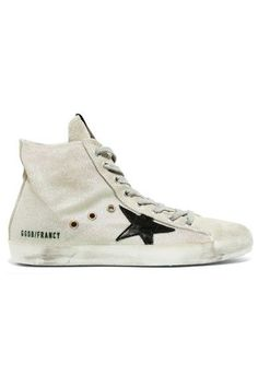 Golden Goose Deluxe Brand - Francy Distressed Leather-paneled Glittered Suede High-top Sneakers - White