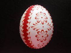 Easter Egg Pysanka Wax Embossed Chicken Egg in Red