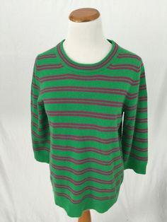 J. CREW green pink striped 100% CASHMERE crewneck sweater Women's M #JCrew #Crewneck