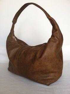 Genuine rustic brown leather hobo purse shoulder bag handbag handmade rosses on Etsy, $94.99