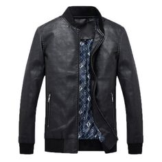 Zipper Pockets Faux Leather Jacket ($60) ❤ liked on Polyvore featuring men's fashion, men's clothing, men's outerwear, men's jackets, black, mens faux leather jacket, mens fake leather jacket and mens jackets