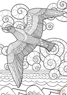 Zentangle de Gaviota Volando en el Océano | Super Coloring