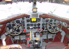 Cockpit of operated by FAA to verify operation of navaids (VORs & NDBs) along federal airways Cargo Aircraft, Passenger Aircraft, Military Aircraft, Motor Radial, Douglas Dc 4, Plane And Pilot, Douglas Aircraft, Aircraft Interiors, Flying Boat