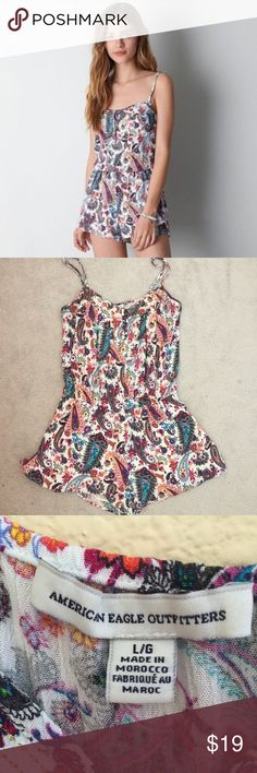 Colorful Romper Flattering synch at the waist. Beautiful colors American Eagle Outfitters Pants Jumpsuits & Rompers