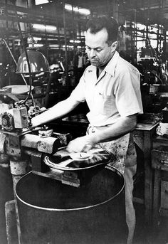 Record manufacturing 1954. These were long-playing 33 1/3 speed vinyl.