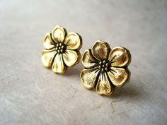 Gold Flower Earrings. Apple Blossom Stud Earrings. by PiggleAndPop, $16.00