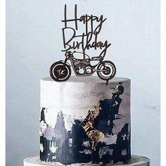 Elegant Birthday Cakes, 60th Birthday Cake For Men, Happy Birthday Cake Topper, Birthday Cake Decorating, Happy Birthday Black, 50th Cake, Motorcycle Birthday Cakes, Motorcycle Cake, Dessert Party