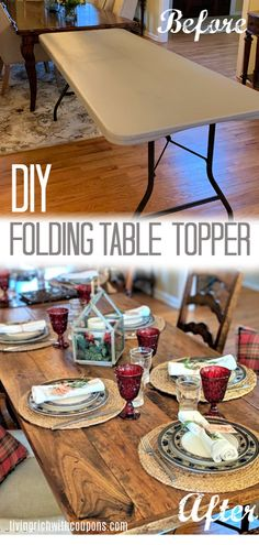 DIY Wood Folding Table Topper - From Plastic Folding Table to Beautiful Wood Table #TableCover #WoodTableTopper #WoodFoldingTableCover