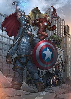The Avengers - Earth's Mightiest Heroes (Colour) by darnof on deviantART