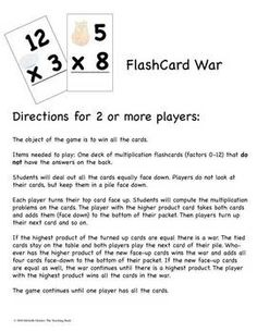 Four Multiplication Basic Fact Games and Flash Cards for factors 0-12