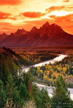 ☀Clearing storm over the Grand Tetons at sunset from the Snake River overlook, Grand Teton National Park, Wyoming USA  by © Russ Bishop*